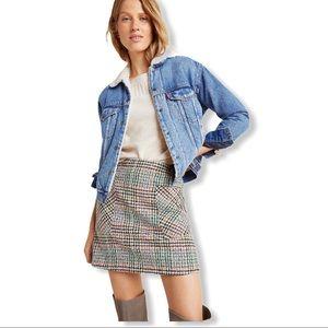 Anthro Maeve Bijou Plaid Knit Mini Skirt 16 Petite